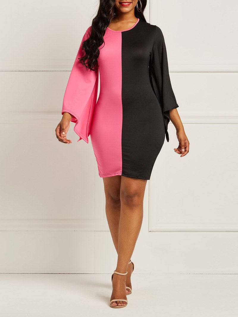 Ericdress Long Sleeves Color Block Womens Dress