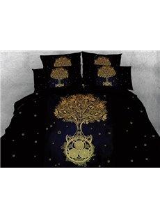 3D Golden Tree Printed Cotton 4-Piece Black Bedding Sets/Duvet Covers