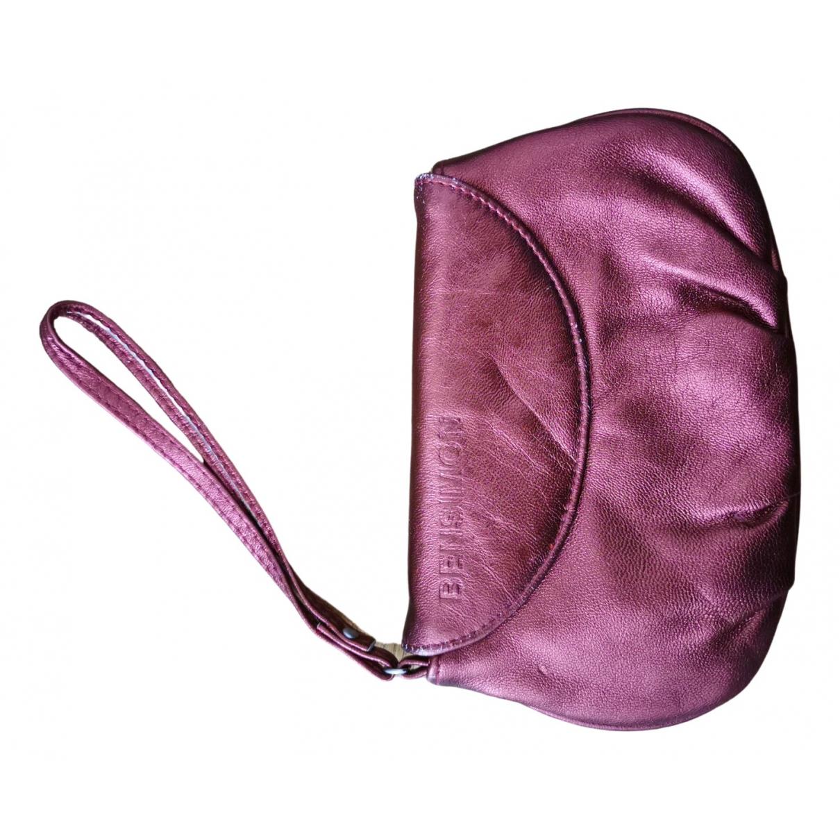 Bensimon - Pochette   pour femme en cuir - bordeaux