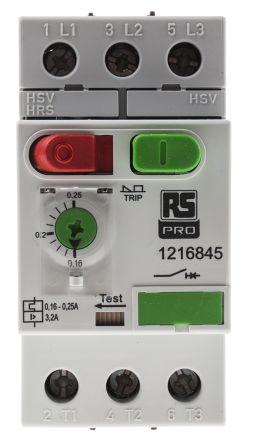 RS PRO 690 V Motor Protection Switch - 3P Channels, 0.16 → 0.25 A, 100 kA @ 230 V