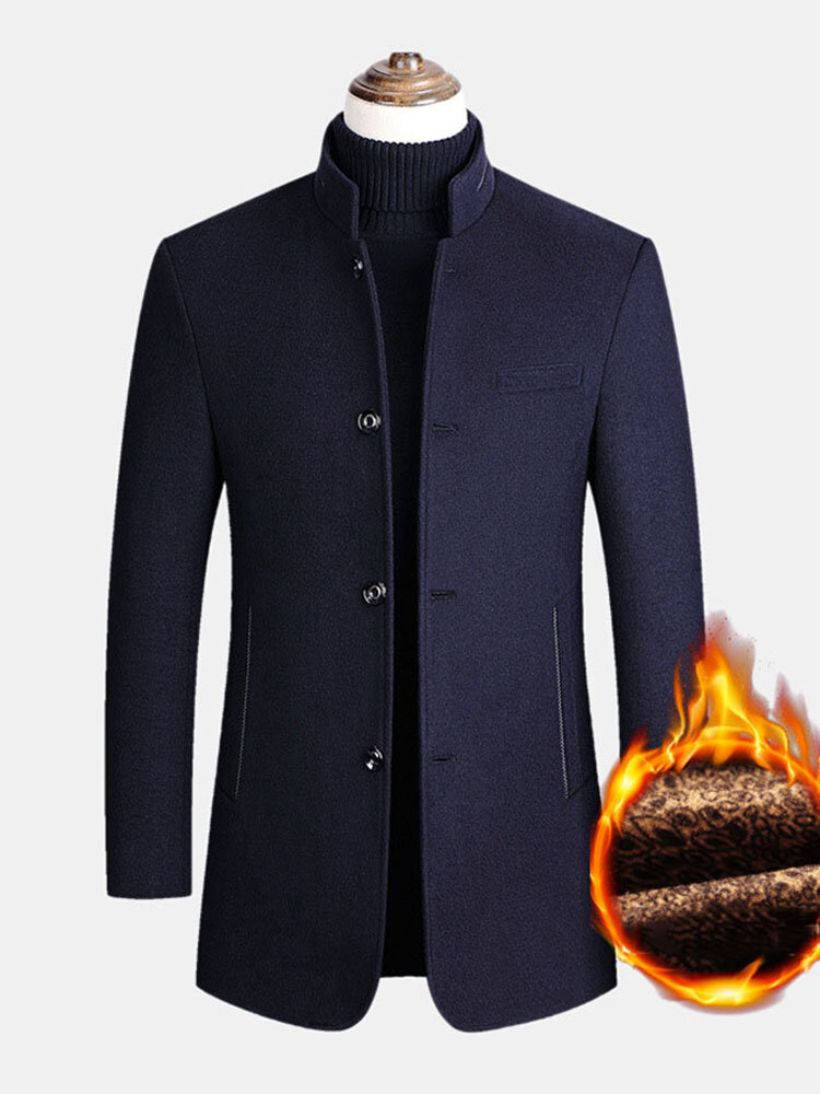 Mens Single-Breasted Woolen Thicken Warm Stand Collar Overcoats With Pockets