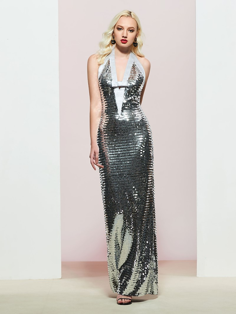 Halter Bowknot Backless Sequins Evening Dress