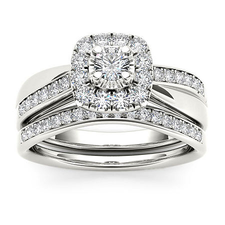 Womens 5/8 CT. T.W. Genuine White Diamond 10K White Gold Bridal Set, 7 1/2 , No Color Family