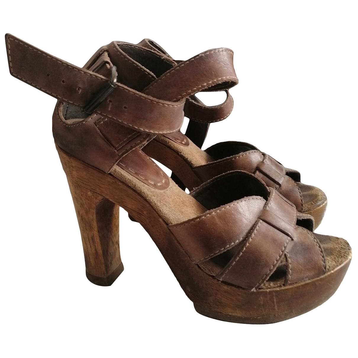 Topshop - Sandales   pour femme en cuir - marron