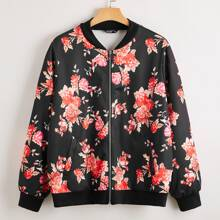 Plus Zip Up Allover Floral Bomber Jacket