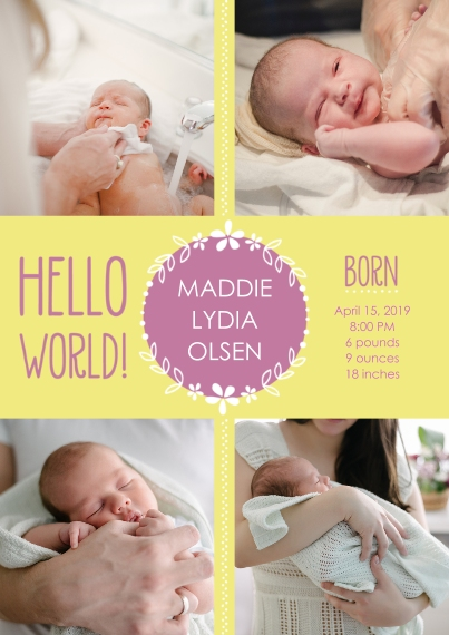 Newborn Flat Glossy Photo Paper Cards with Envelopes, 5x7, Card & Stationery -Hello World! Baby Announcement Girl by Well Wishes