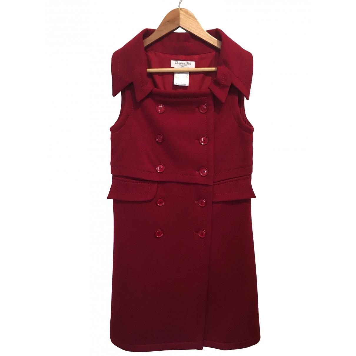 Dior - Robe   pour femme en laine - bordeaux