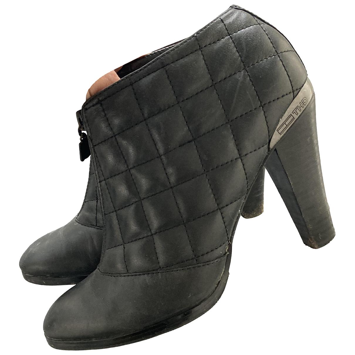 Tommy Hilfiger N Black Leather Heels for Women 39 EU