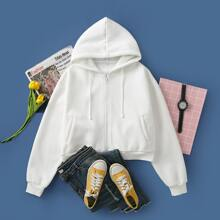 Solid Drawstring Zip-Up Hoodie