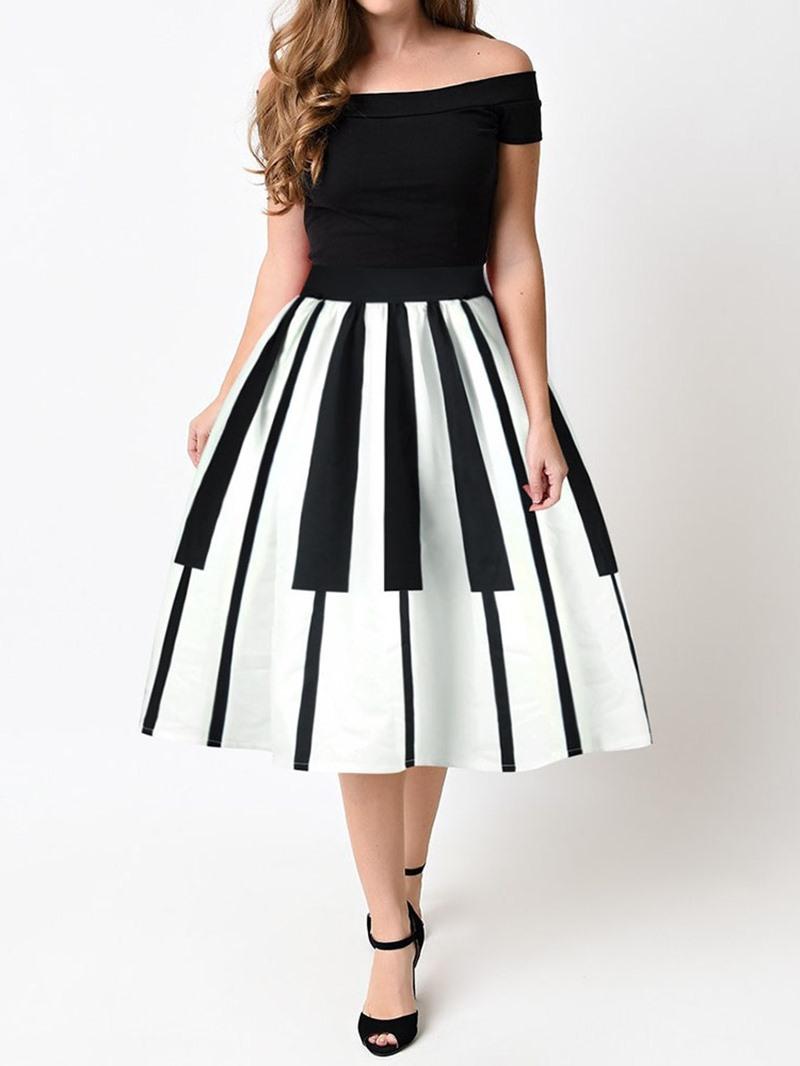 Ericdress Print Mid-Calf Ball Gown High Waist Date Night Skirt