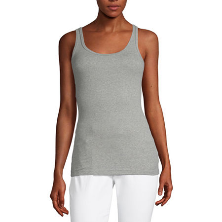 a.n.a Womens Scoop Neck Sleeveless Tank Top, Large , Gray