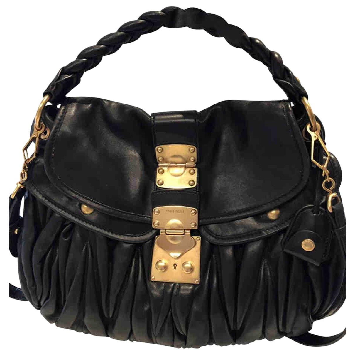 Miu Miu Coffer Handtasche in  Schwarz Leder