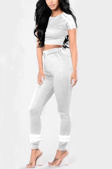 Yoins Grey Stripe Print Crop Top & High-rise Pants Tracksuit