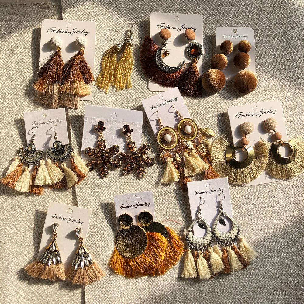 Bohemian Metal Geometric Moon Tassel Pendant Earrings Vintage Mixed Cotton Tassel Earrings