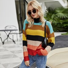 Cut And Sew Ribbed Knit Sweater