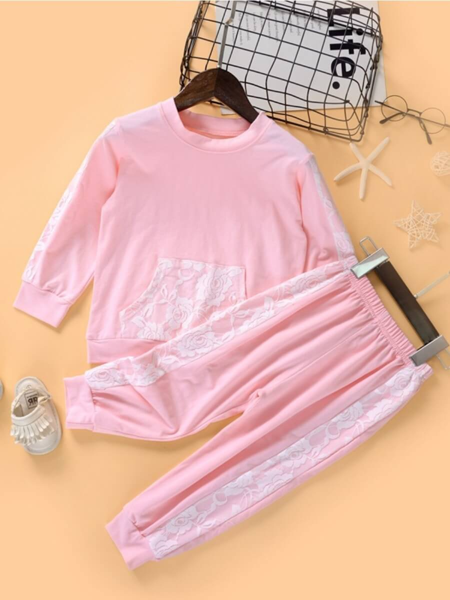 LW Lovely Sweet O Neck Lace Patchwork Pink Girl Two-piece Pants Set