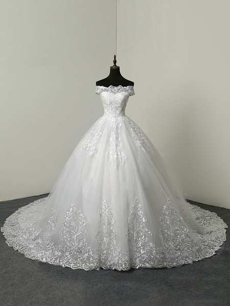 Milanoo wedding dresses 2020 ball gown off the shoulder short sleeve natural waist lace applique tulle bridal dress