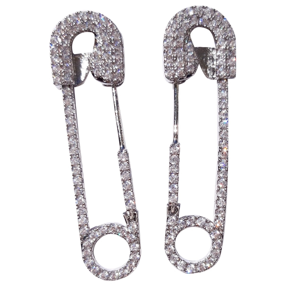 Non Signé / Unsigned \N Silver Crystal Earrings for Women \N
