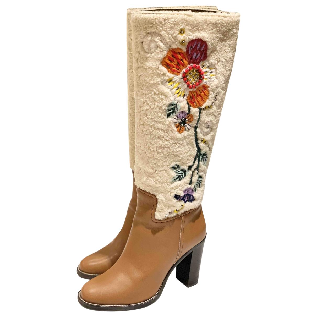 Miu Miu \N Camel Leather Boots for Women 36 EU