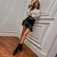 Ruffle Hem Mini PU Skirt