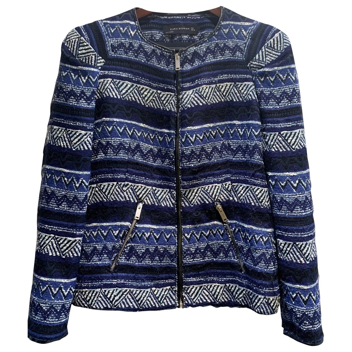 Zara \N Jacke in  Blau Synthetik