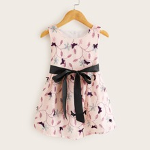 Toddler Girls Floral Print Self Tie A-line Dress