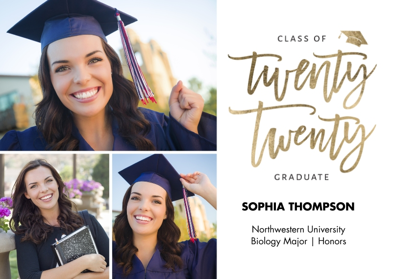 2020 Graduation Announcements 5x7 Cards, Standard Cardstock 85lb, Card & Stationery -2020 Grad Lettering by Tumbalina