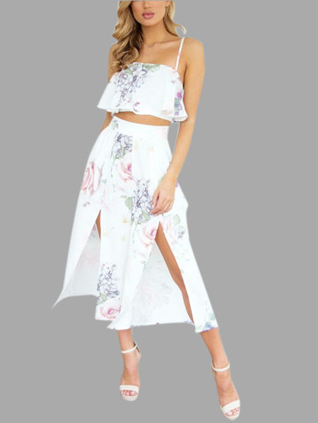 Yoins Fashion Random Floral Print Flounced Design Cami & Long Calcao