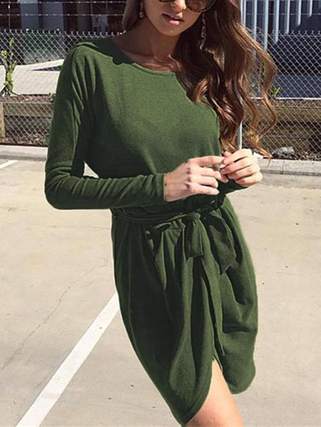 Yoins Army Green Belt Design Round Neck Long Sleeves Dress