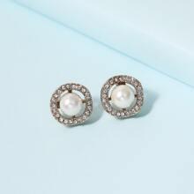 Faux Pearl Rhinestone Inlaid Stud Earrings