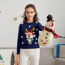 Girls Christmas Pattern Pompom Detail Sweater