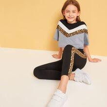 Girls Leopard Print Chevron Top and Leggings Set