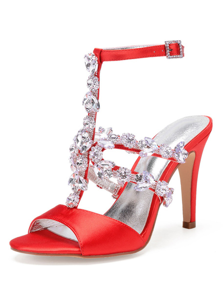Milanoo Satin Wedding Shoes Silver Peep Toe Rhinestones T Type Strappy High Heel Sandals