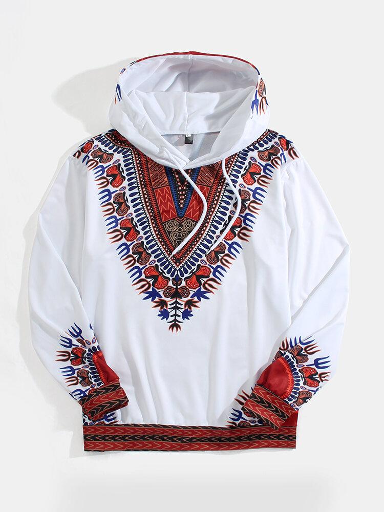 Mens Ethnic Tribal Element Print Casual Drawstring Hoodies