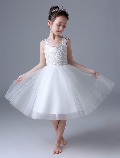 Milanoo Vestidos De Niña De Flores Marfil Encaje Vestido Tutu De Princesa Sin Mangas Con Lazo Vestido De Fiesta Para Niños