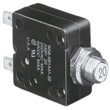 TE Connectivity W58 Single Pole Thermal Magnetic Circuit Breaker - 50 V dc, 250 V ac Voltage Rating, 4A Current Rating