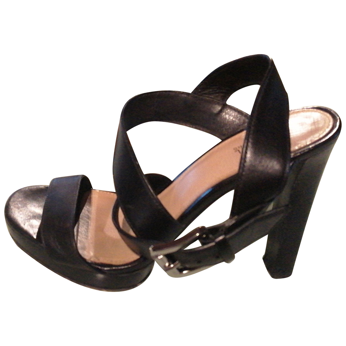 Michael Kors N Black Leather Sandals for Women 37.5 IT