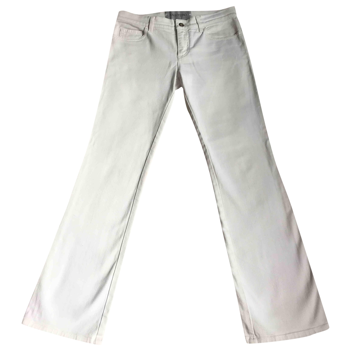 Valentino Garavani \N White Cotton Trousers for Women 40 IT