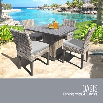 OASIS-SQUARE-KIT-4ADCC-GREY Oasis Square Dining Table with 4 Chairs with 2 Covers: Grey and
