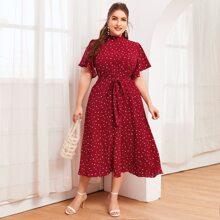 Kleid mit Stehkragen, Flatteraermeln, Selbstguertel und Herzen Muster
