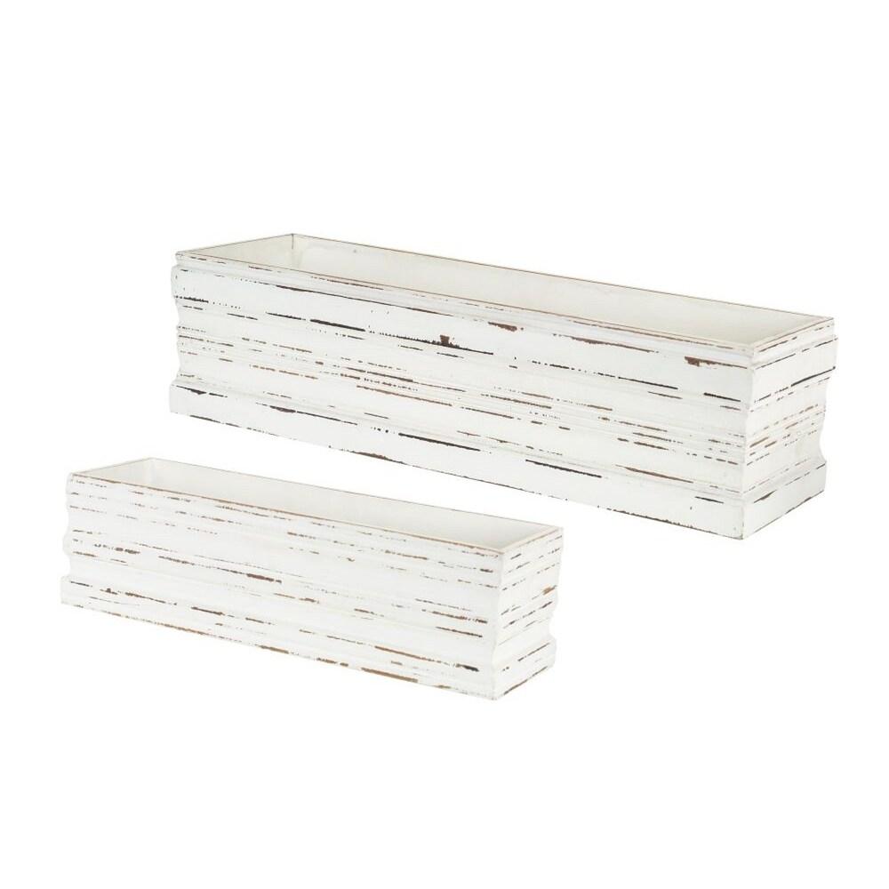 2 White Distressed Finished Rectangular Striped Decorative Box 18.5 (White)
