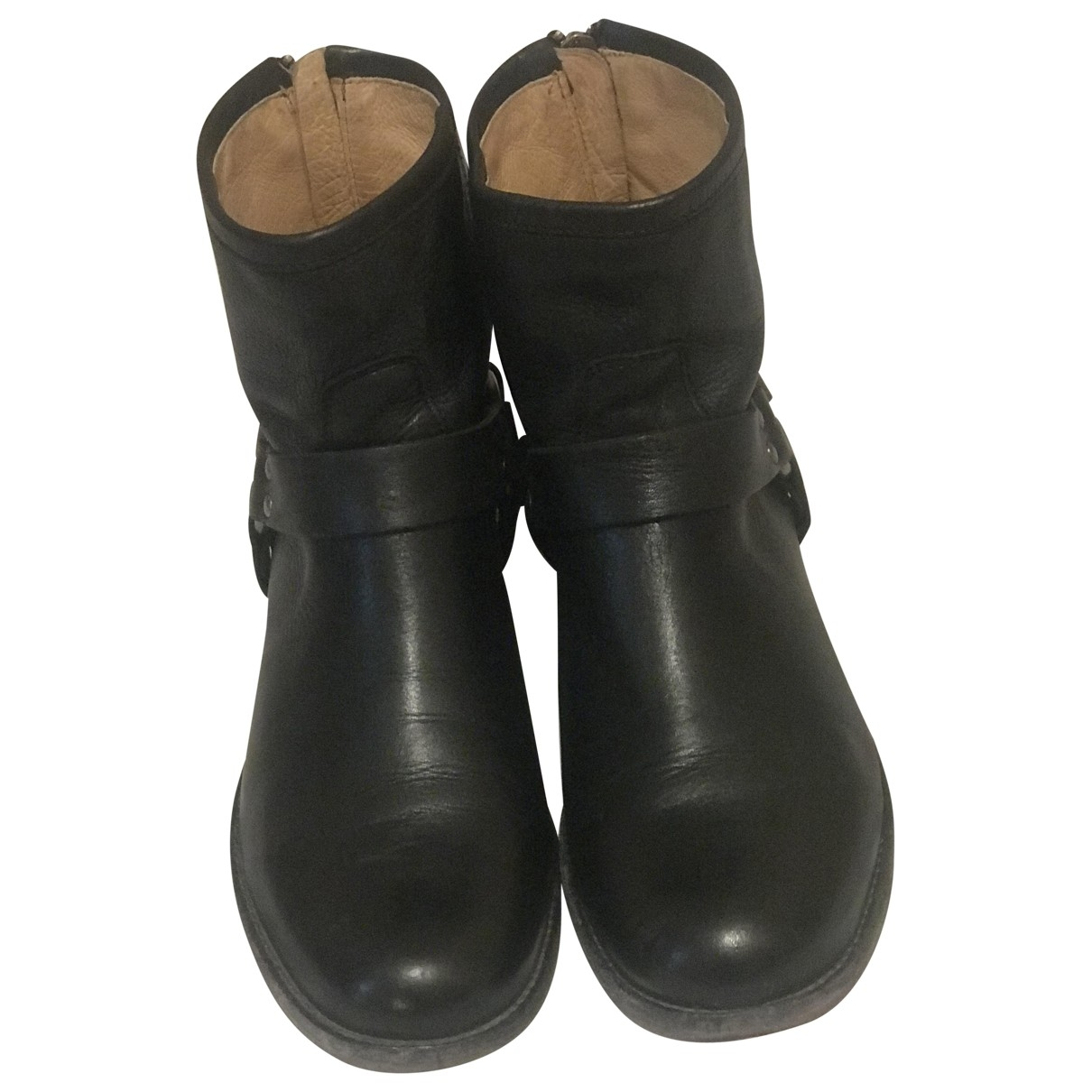 Frye \N Stiefel in  Schwarz Leder