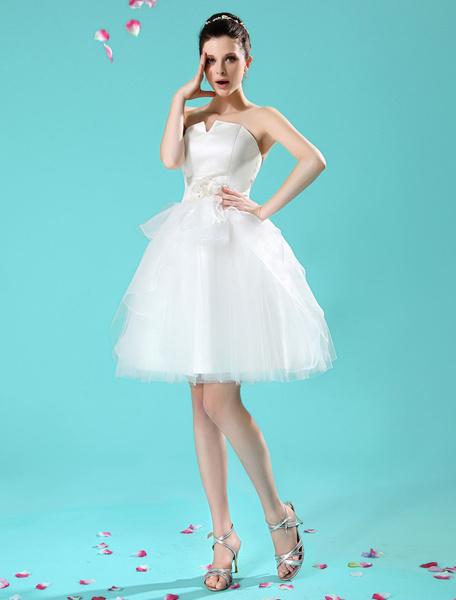 Milanoo Ivory A-line Flower Pleated Bride's Wedding Dress