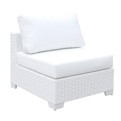 BM187224 Aluminum Framed Wicker Armless Chair with Fabric Upholstered Padded Seat