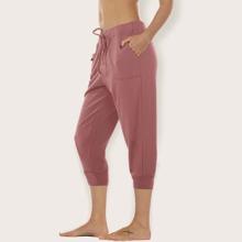 Sports Capris Hose mit Kordelzug um die Taille und schraegen Taschen