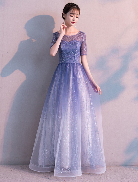 Milanoo Long Prom Dresses Ombre Tulle Sequin Half Sleeve Formal Evening Dress