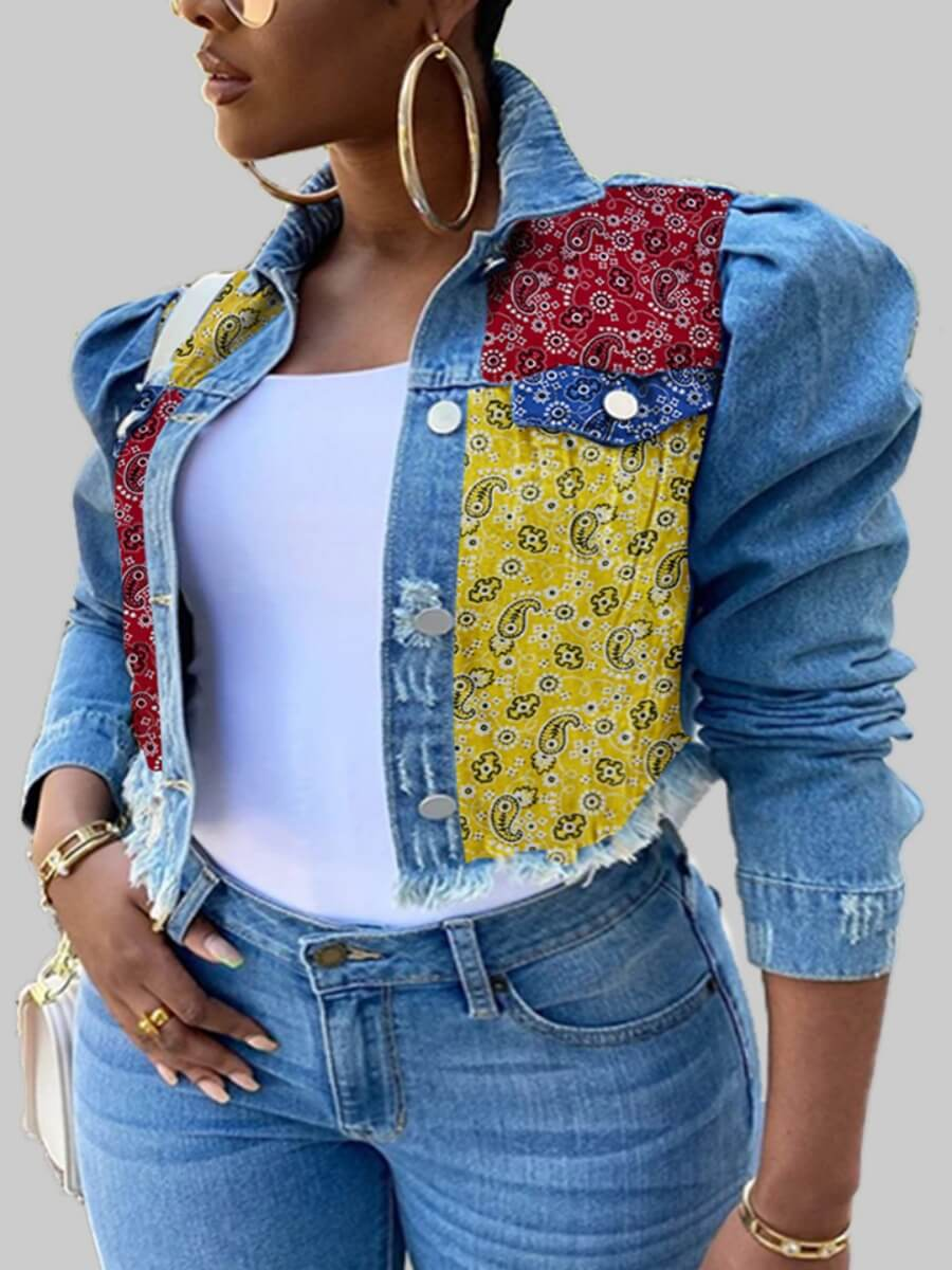 LW Lovely Stylish Turndown Collar Print Patchwork Baby Blue Plus Size Denim Jacket