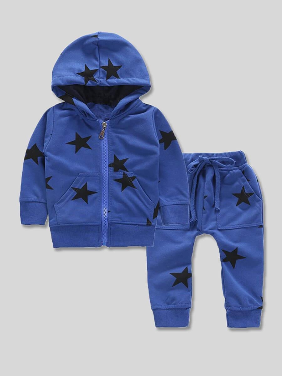 LW Lovely Sportswear Hooded Collar Print Zipper Design Blue Boy Two-piece Pants Set