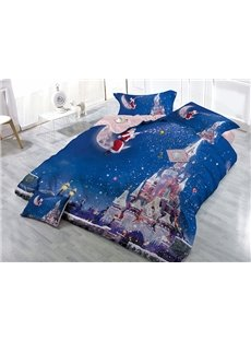 Santa Claus Sitting on Moon Castle Wear-resistant Breathable High Quality 60s Cotton 4-Piece 3D Bedding Sets