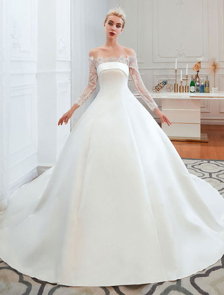 Milanoo Vintage Wedding Dress 2020 Off The Shoulder Long Sleeve Princess Satin Floor Length Bridal Gowns With Train